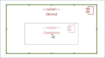 Tvar podsystému ukladacieho priestoru so súčasťou Poradie presunutou do hornej časti tvaru