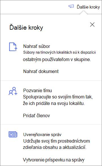 Tabla ďalšie kroky po vytvorení novej zdieľanej knižnice v službe OneDrive for Business