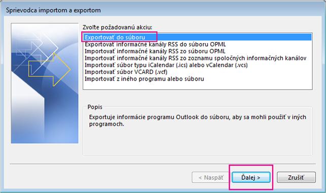 Výber položky Exportovať do súboru