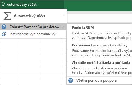 Získanie pomoci v Exceli