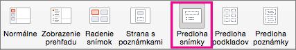 Príkaz predlohy snímky v PowerPointe pre Mac