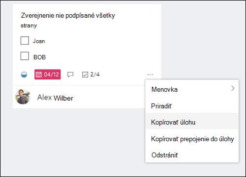 Snímka obrazovky: Zobrazenie ďalšej ponuky, ktorá sa otvorila z úlohy na paneli Plannera.