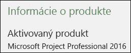 Informácie o produkte – Project Professional 2016