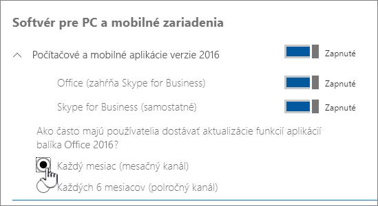 Nastavenie mesačných zostáv kanálov pre používateľov PC