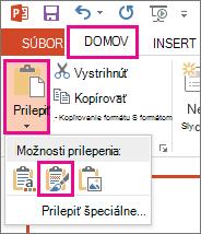 V ponuke Prilepiť vyberte ikonu Ponechať formátovanie zdroja.