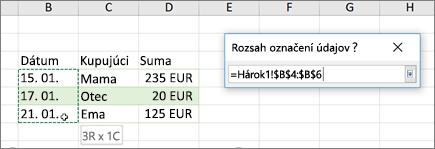 Dialógové okno rozsah menovky údajov