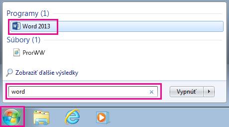 Vyhľadanie aplikácií balíka Office vo Windowse7