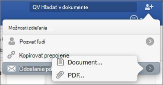 Vyberte požadovaný formát pre dokument odošlete v aplikácii Word dokument alebo súbor PDF.