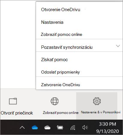 Snímka obrazovky sprechodom na nastavenia OneDrivu