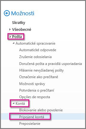 Pripojené kontá