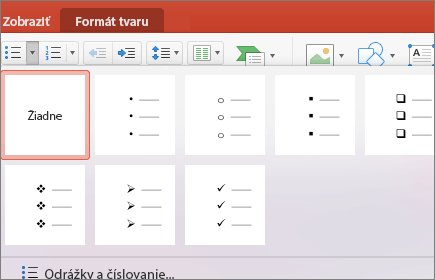 Snímka obrazovky so štýlmi odrážok dostupnými po výbere šípky na tlačidle Odrážky