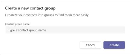 Teams obrazovky na vytvorenie novej skupiny kontaktov