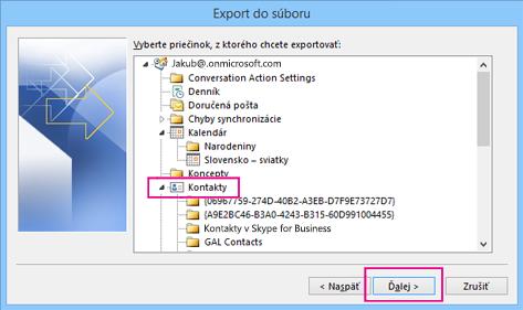 Posuňte sa nahor avyberte priečinok kontaktov na export.