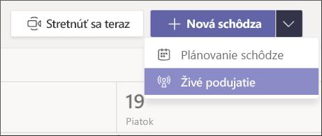 tlačidlo Nová schôdza – Live Event