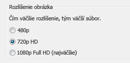 Snímka obrazovky s možnosťami záznamu