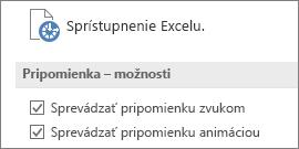 Čiastočné zobrazenie nastavení pre Zjednodušenie prístupu v Exceli