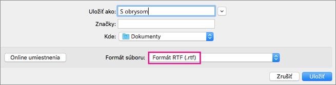 Ukladanie súborov vo formáte .rtf