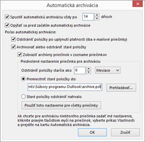 Tu môžete upraviť možnosti automatickej archivácie.