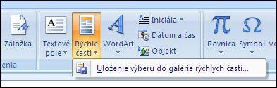 Outlook 2007 rýchlych častí
