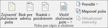 Vprograme Word na karte Korešpondencia vskupine Zapísať avložiť polia