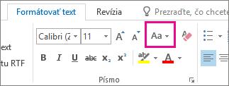 Tlačidlo Zmeniť veľkosť písmen na karte Formátovať text.