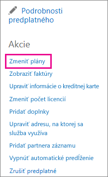 Switch plans link used to change Office 365 plan.