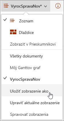 SharePoint Online zobrazenie ponuky možnosti uložiť zvýraznená položka