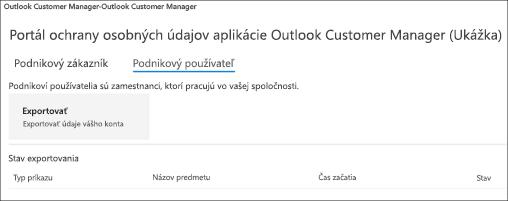 Snímka obrazovky: export údajov o zamestnancoch v programe Outlook Customer Manager
