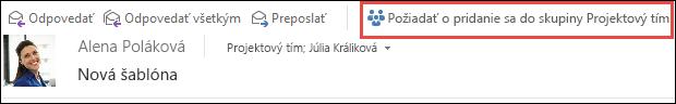 Žiadosť o pripojenie k skupine z e-mailu