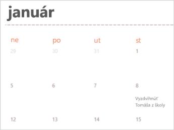 Šablóna kalendára v Exceli Online