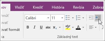 Snímka obrazovky stlačidlom Zväčšiť zarážku vo OneNote 2016.