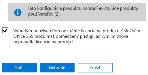 Odobratie všetkých licencií vybratým používateľským kontám začiarknutím políčka.
