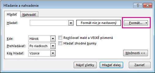 Dialógové okno hľadania