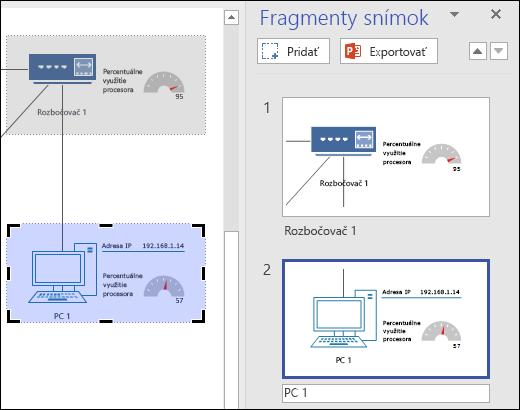 Snímka obrazovky zobrazujúca tablu fragmentov snímky vo Visiu s dvoma ukážkami snímky.