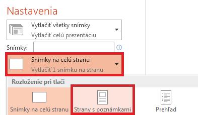 Na stránke Tlačiť kliknite v zozname Rozloženie pri tlači na položku Snímky na celú stranu.