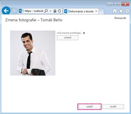 Snímka obrazovky s dialógovým oknom Zmeniť obrázok so zvýrazneným tlačidlom Uložiť