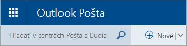 Snímka obrazovky s ľavým horným rohom poštovej schránky služby Outlook.comv štandardnej verzii
