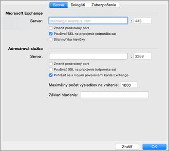 Nastavenia servera konta Exchange