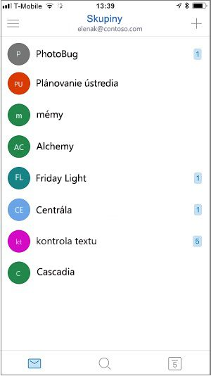 Domovská obrazovka mobilnej aplikácie skupiny