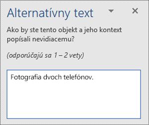 Príklad slabého alternatívneho textu vo Worde pre Windows.