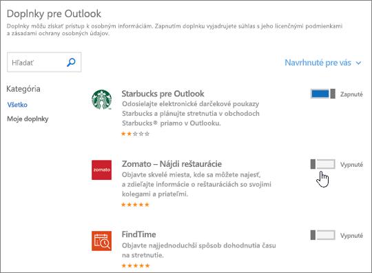 Snímka obrazovky stránky Doplnky pre Outlook, na ktorej možno zobraziť nainštalované doplnky a vyhľadať a vybrať ďalšie doplnky.