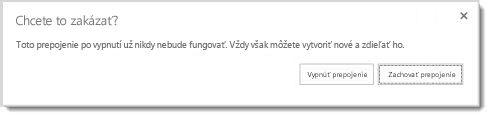 Dialógové okno s otázkou, či chcete vypnúť hosťovské prepojenie na zdieľaný dokument, aby už nefungovalo.