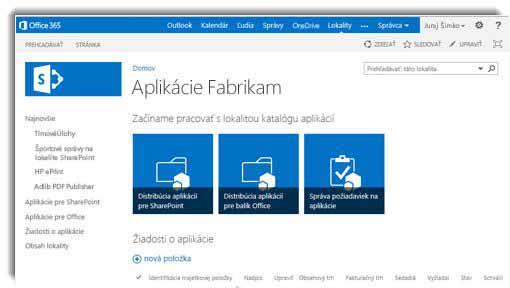Snímka obrazovky s domovskou stránkou lokality katalógu aplikácií.