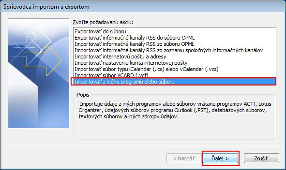 Click Import from another program or file, and then click Next.