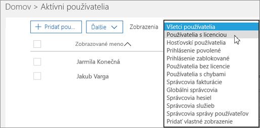 Vyberte rozbaľovací zoznam na filtrovanie zoznamu používateľov.