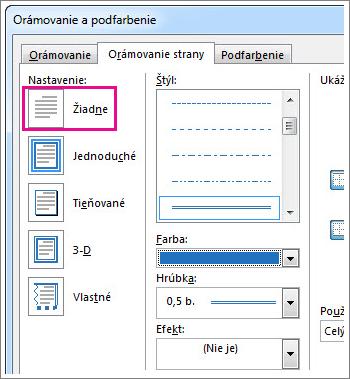 Dialógové okno s nastavením orámovania strán