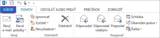 Takto vyzerá počítačový pás s nástrojmi Outlooku.