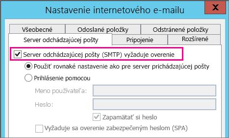 Začiarknite políčko Server odchádzajúcej pošty vyžaduje overenie.