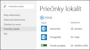 Vyberte položku Priečinky lokalít na paneli Rýchla akcia vslužbách Office 365 azobrazí sa zoznam lokalít SharePoint Online, ktoré sledujete.