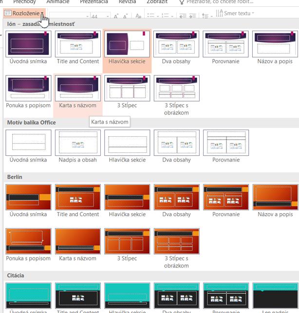Výber predlohy kliknutím na šípku nadol vedľa tlačidla Rozloženie